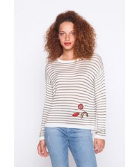 Pull marinere patchs Vert Acrylique - Femme Taille 0 - Cache Cache