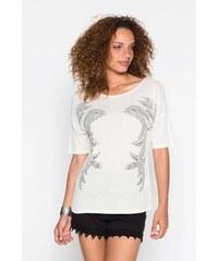 Top cintré studs Blanc Viscose - Femme Taille 0 - Cache Cache