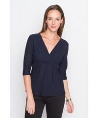 Top coloris uni effet croisé Bleu Polyester - Femme Taille 0 - Cache Cache