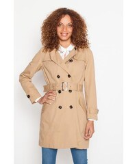Trench long double boucles boutonnage Beige Coton - Femme Taille 0 - Cache Cache