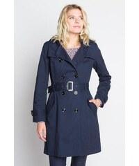 Trench long double boucles boutonnage Bleu Coton - Femme Taille 0 - Cache Cache