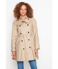 Trench long uni Beige Elasthanne - Femme Taille 1 - Cache Cache