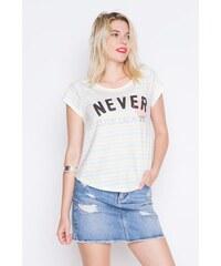 T-shirt à manches courtes rayé imprimé Bleu Coton - Femme Taille 0 - Cache Cache