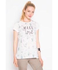 T-shirt cintré motif floral et texte Blanc Polyester - Femme Taille 0 - Cache Cache