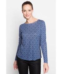 T-shirt col rond fluide imprimé Bleu Viscose - Femme Taille 0 - Cache Cache