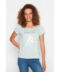 T-shirt encadré et texte doré Bleu Coton - Femme Taille 0 - Cache Cache