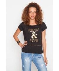 T-shirt encadré et texte doré Noir Coton - Femme Taille 0 - Cache Cache