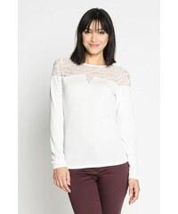 T-shirt maille unie et dentelle Blanc Polyamide - Femme Taille 0 - Cache Cache