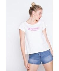 T-shirt manches courtes imprimé Blanc Coton - Femme Taille 0 - Cache Cache