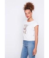T-shirt message sequins dorés Blanc Coton - Femme Taille 0 - Cache Cache