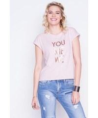 T-shirt message sequins dorés Violet Coton - Femme Taille 0 - Cache Cache