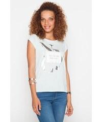 T-shirt New York argenté Bleu Coton - Femme Taille 0 - Cache Cache