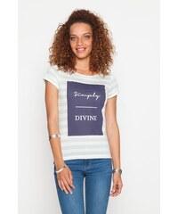 T-shirt rayures et texte Bleu Coton - Femme Taille 0 - Cache Cache