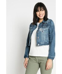 Veste jean cropped patchs Bleu Polyester - Femme Taille 3 - Cache Cache