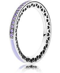 Pandora Kombinierbarer Ring Strahlende Herzen Silber Lila 191011ACZ-48