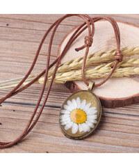 Lesara Halskette mit ovalem Gänseblümchen-Anhänger - Weiß