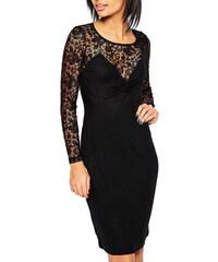 Polodlouhé krajkové černé šaty French Connection
