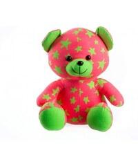 Teddies Medvídek svítící ve tmě, 21 cm, růžovo-zelený