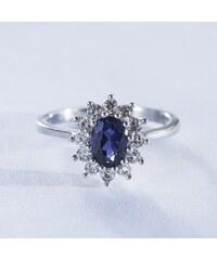KLENOTA Stříbrný prsten se safírem a zirkony