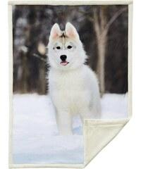 Home Linen Plaid imprimé Chien blanc - 150x200 cm - 100% polyester - 1 face microfibre + 1 face Sherpa
