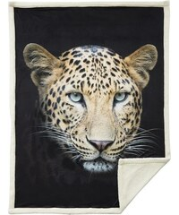 Home Linen Plaid imprimé Panthère - 150x200 cm - 100% polyester - 1 face microfibre + 1 face Sherpa
