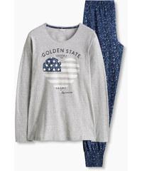 Esprit Žerzejové pyžamo z bavlněné směsi, potisk