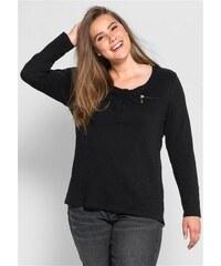 Damen Casual Langarmshirt mit Rundhalsausschnitt SHEEGO CASUAL schwarz 40/42,44/46,48/50,52/54,56/58
