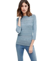 HUSH HUSH Modrošedý lehký svetr se vzorem
