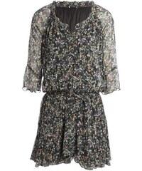 Robe blousante fleurie aspect crêpe Noir Synthetique - Femme Taille 38 - Bréal