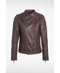 Blouson femme surcoutures en cuir Marron Polyester - Femme Taille L - Bonobo