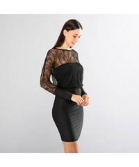 Lesara Kleid mit transparenten Spitzen-Partien - Schwarz - S