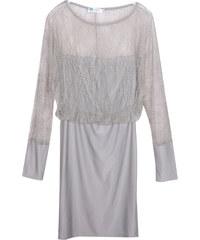 Lesara Kleid mit transparenten Spitzen-Partien - Grau - S