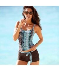 Blancheporte Dvoudílné plavky tankiny a boxerky čokoládová/tyrkysová