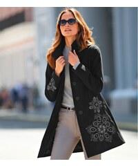 Blancheporte Vlněný kabát s výšivkou černá
