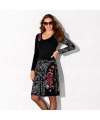 Blancheporte Šaty s potiskem a dlouhými rukávy černá/červená