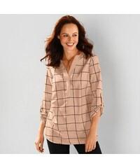 Blancheporte Kostkovaná košilová halenka růžová