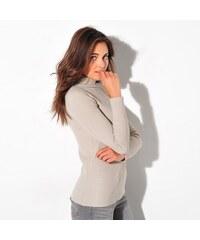 Blancheporte Žebrovaný pulovr s rolákem béžová