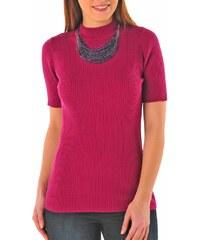 Blancheporte Žebrovaný pulovr s krátkými rukávy fialová