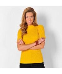 Blancheporte Žebrovaný pulovr s krátkými rukávy medová