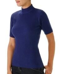 Blancheporte Žebrovaný pulovr s krátkými rukávy tm.modrá