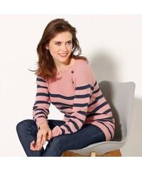 Blancheporte Pruhovaný pulovr s knoflíky v ramenou růžové dřevo/nám.modrá