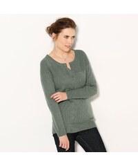 Blancheporte Jednobarevný pulovr s tuniským výstřihem khaki