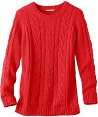 Blancheporte Jednobarevný pulovr s copánkovým vzorem korálová