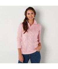 Blancheporte Pulovr s copánkovým vzorem (80 % vlna) růžová pudrová