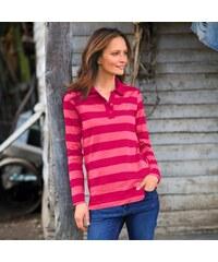 Blancheporte Pruhované polo tričko s dlouhými rukávy třešňová/růžová