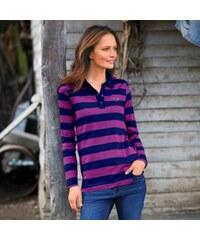 Blancheporte Pruhované polo tričko s dlouhými rukávy nám.modrá/purpurová