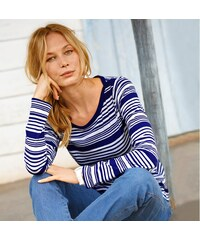 Blancheporte Pruhované tričko s lodičkovým výstřihem indigo/režná
