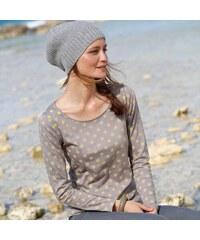 Blancheporte Puntíkaté tričko s dlouhými rukávy šedá/anýzová