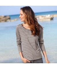 Blancheporte Pruhované tričko s dlouhými rukávy šedá/režná