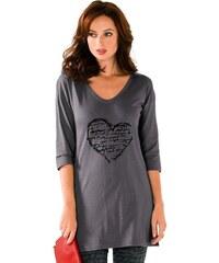 Blancheporte Tunika s potiskem nápisu v srdci šedá/černá